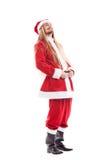 Santa Claus positiva de riso com cabelo longo Fotografia de Stock