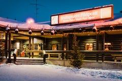 Santa Claus Post Office Santa Village at night. Rovaniemi, Finland - March 5, 2017: Santa Claus Post Office in Santa Village, Lapland. Finland, on Arctic Circle royalty free stock photo