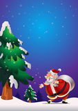 Santa Claus poster blue. Cute Santa Claus poster carrying sack full of gifts happy on snow Stock Image