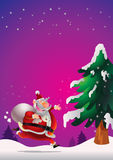 Santa Claus poster. Cute Santa Claus poster carrying sack full of gifts happy on snow Royalty Free Stock Photo