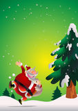 Santa Claus poster green. Cute Santa Claus poster carrying sack full of gifts happy on snow Stock Photo