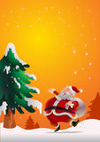 Santa Claus poster orange. Cute Santa Claus poster carrying sack full of gifts happy on snow Royalty Free Stock Photos