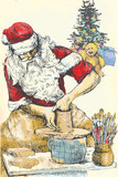 Santa Claus potter. Santa Claus himself made gifts: working on the potters wheel (handmade Christmas gifts are the best !).Editable in several layers. Number of stock illustration