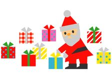Santa Claus,  prepare christmas gift boxes. Illustration Stock Image