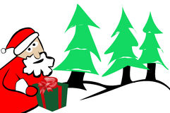 Santa Claus with Present Christmas Trees and Snow. Winter Holiday Background Stock Image