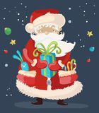 Santa Claus with a  present Royalty Free Stock Photos