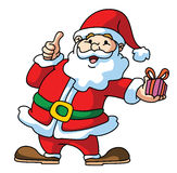 Santa Claus Presenting The Gift with Thumb Up Royalty Free Stock Image