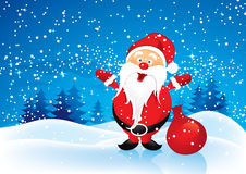 Santa Claus with presents. Illustration of Santa Claus with sack of presents in snowy landscape Stock Photo