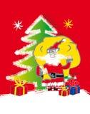 Santa claus - presents. Christmas tree and stars Royalty Free Stock Photography
