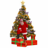 Santa Claus with presents and Stock Photo