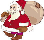 Santa Claus with presents. Cartoon illustration of Santa Claus carrying sack of presents over shoulder, white background Stock Images