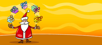 Santa Claus and presents cartoon card Royalty Free Stock Image