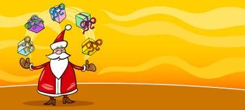 Santa Claus and presents cartoon card Royalty Free Stock Image