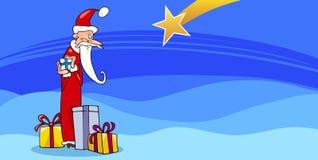 Santa Claus with presents cartoon card Stock Photo