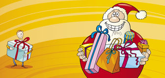 Santa claus with presents christmas card Royalty Free Stock Images