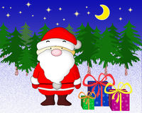 Santa Claus with presents. Santa Claus with gifts in the night forest Stock Photo