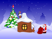 Santa claus with presents near wooden house Royalty Free Stock Photos
