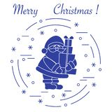 Santa Claus with presents. New Year and Christmas symbols. Winter elements made in line style vector illustration