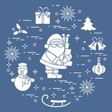 Santa Claus with presents and other New Year and Christmas symbols. Winter elements made in line style vector illustration