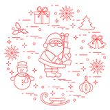 Santa Claus with presents and other New Year and Christmas symbols. Winter elements made in line style stock illustration