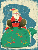 Santa Claus and presents.Retro card for celebrate Royalty Free Stock Photos