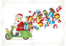 Santa Claus with Presents on Scooter Vector Cartoon. Illustration of Santa Claus riding scooter delivering Christmas presents Royalty Free Stock Photos