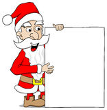 Santa claus presents a sign with copy space Stock Photo