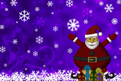 Santa Claus with Presents and Snow Flakes. In purple background Stock Photo