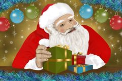 Santa Claus and the presents for you Stock Images