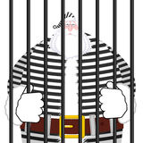 Santa Claus prison in striped robe. Window in prison with bars. Royalty Free Stock Image