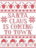 Santa Claus przychodzi grodzki scandinavian bezszwowy wzór inspirujący Północnej kultury świąteczną zimą w przecinającym ściegu Zdjęcie Royalty Free