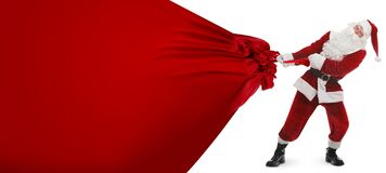 Free Santa Claus Pulling Enormous Red Bag Full Of Christmas Gifts On White Background. Banner Design Royalty Free Stock Photos - 203282468