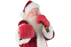 Santa Claus punches with his right Stock Images
