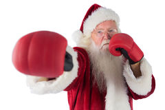 Santa Claus punches with his right Royalty Free Stock Photo