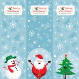 Santa Claus, pupazzo di neve, albero, insegna Immagine Stock