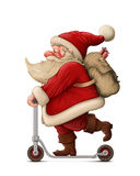 Santa Claus and the Push scooter Stock Photo