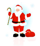 Santa Claus pushes a gift Royalty Free Stock Photo