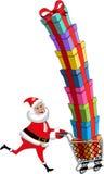 Santa Claus Pushing Cart Stack Gifts isolerade Royaltyfri Bild