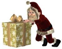 Santa Claus Pushing un regalo de la Navidad Imagenes de archivo