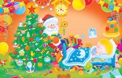 Santa Claus puts Christmas gifts vector illustration