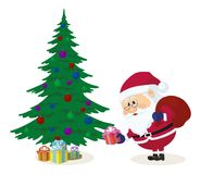 Santa Claus putting gifts under fir tree. Cheerful Santa Claus with a bag of gifts putting gift boxes under fir tree, Christmas holiday illustration, funny Stock Photos