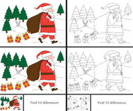 Santa Claus puzzle. Educational game for preschool kids - finding differences - cartoon illustraton of Santa Claus losing presents with a solution in color and Stock Photo