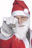 Santa Claus with a quarter dollar stock image