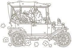 Santa Claus que conduz seu carro com presentes do Natal fotos de stock royalty free