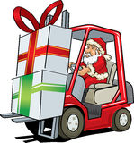 Santa Claus que conduz uma empilhadeira Fotografia de Stock