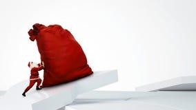Santa Claus que empuja el saco enorme con los regalos Imagen de archivo