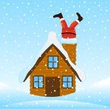 Santa Claus que escala a chaminé de uma casa de madeira ilustração do vetor