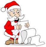 Santa Claus que lê uma lista de objetivos pretendidos longa Imagens de Stock Royalty Free