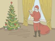 Santa Claus que lee una lista de regalos Vector interior del ejemplo del bosquejo del color gráfico de la sala de estar libre illustration