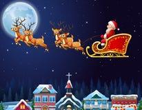 Santa Claus que monta su trineo del reno que vuela sobre ciudad Imágenes de archivo libres de regalías